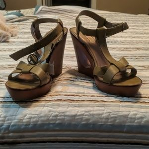Olive Green Strappy sandals. Cut out heel. Good